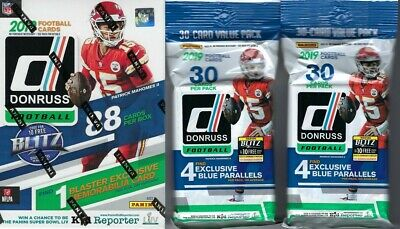 2019 Panini DONRUSS Football NFL Trading Cards 1-BLASTER + 2-FAT PACK Combo Set
