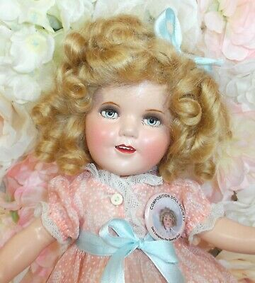 "13"" SHIRLEY TEMPLE Ideal doll 1930's COMPOSITION rare original peach Fern dress"