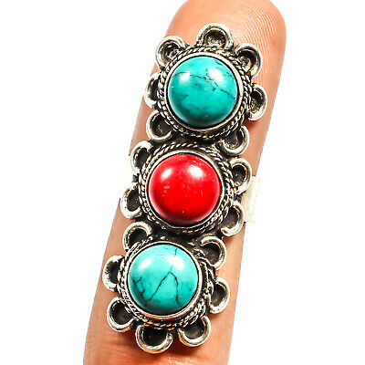 Red Coral Blue Turquoise 925 Silver Plated Ring Jewelry Sz Adjustable