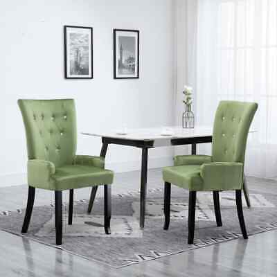 Vidaxl Dining Chair with Armrests Light Green Fabric Room French Style Chair
