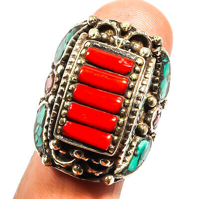 Red Coral Blue Turquoise 925 Silver Plated Ring Ethnic Jewelry Sz 8.5