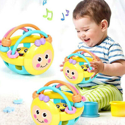 Cartoon Bee Soft Colorful Baby Rattle Ball Hand Bell Educational Teething Toy