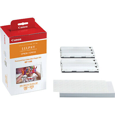 1X Genuine Canon RP108 Ink & Paper Pack (108 sheets 6x4) for CP1200BK, CP1300BK