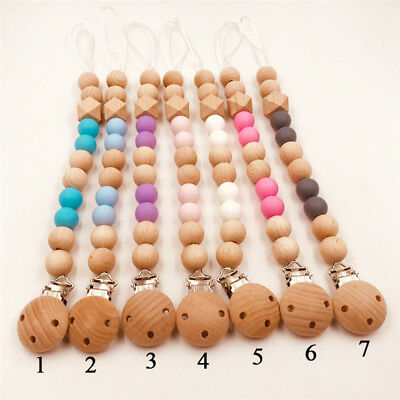 Baby Safe Nipple Holder Chewing Toy Pacifier Clip Wooden Chain Soother Beads BM