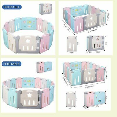 14/16 Panel Baby Playpen Kids Safety Fence Play Center PlayYard Kids Bbay