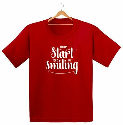 Always Start Your Day Smiling Printed Kids Boys Girls T Shirts Fashion Dope Tee