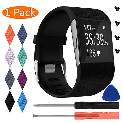 UK Fitbit Surge Replacement Silicone Strap Watch Band Buckle Screws With Tools