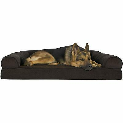Furhaven Pet Dog Bed | Orthopedic Faux Fleece and Chenille Soft Woven Living