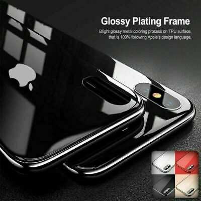 For iPhone 7 8Plus XS MAX XR Luxury Protection Ultra Slim Black Glass Cover Case