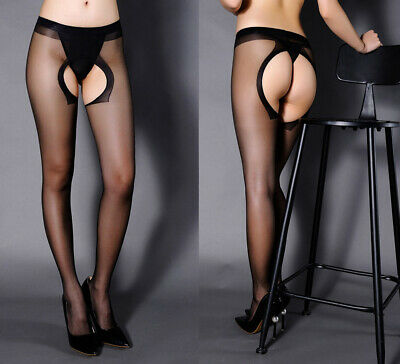 Womens Sexy Tights Black Fitness Open Crotch Sheer Pantyhose Stocking Salable