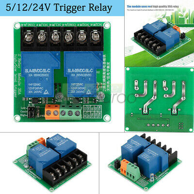 2 Channel 30A 5/12/24V High/Low Trigger Relay Module With Optocoupler Isolation