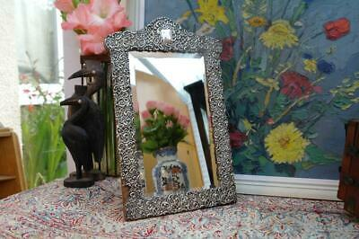 Antique Victorian Sterling Silver Easel Dressing Table Mirror By Henry Matthews