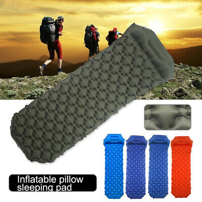 USA Hiking Camping Moistureproof Inflatable Cushion Sleeping Pad Mat with Pillow