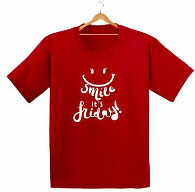 Smile Its Friday Printed Kids Boys Girls T Shirts Fashion Cute Weekend Tee Dope