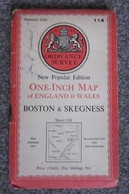 Boston & Skegness  -  Ordnance Survey One Inch Cloth Map  .  Sheet 114