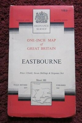 Eastbourne -  Ordnance Survey One-Inch Cloth Map  .  Sheet 183  , 1960    #
