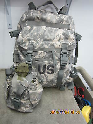 US Army Military ACU 3 Day Assault Back Pack & Canteen w/ Pouch #B Name