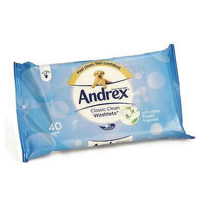 Andrex Classic Clean Washlets 40 Toilet Tissue Wipes Soft Cotton Fresh Fragrance