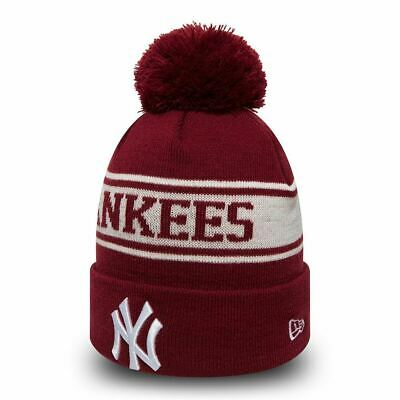 New Era MLB New York Yankees Maroon White Seasonal Jake Cuff Knit Beanie Knit