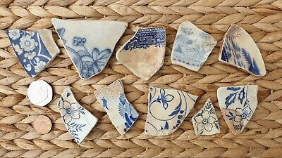 Sea Tumbled Blue & White Beach Pottery Shards for Arts and Crafts