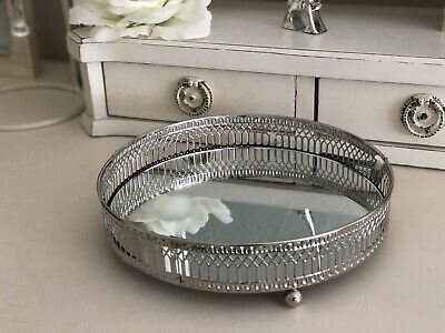 Mirror Glass Metal Antique Decorative Silver Candle Plate Display Tray NEW