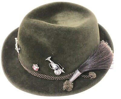 Swiss Alpine Green Felted Wool Hat With Gamsbart Boar Hair Brush And 5 Pins EUC