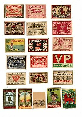 20 Old Sweden c1900s matchbox labels Cleopatra's Needle & Various themes