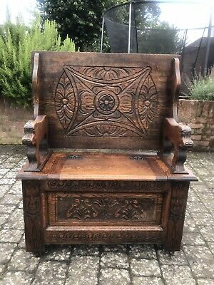 Medieval Gothic Style Carved Oak  Monks Bench Settle Hall Seat