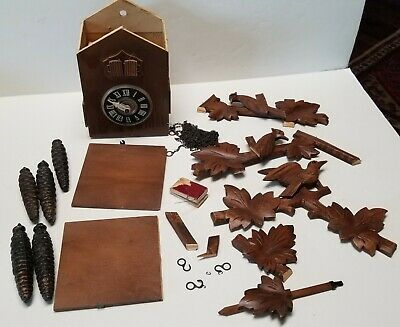 Vintage German Cuckoo Clock Swiss Musical Movement For Parts, Repair Restoration