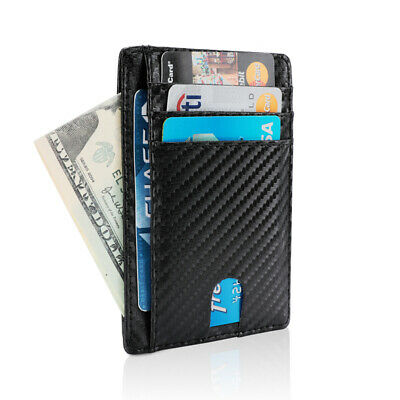 Ultra Slim Genuine Leather Card Holder Wallets 8 Slot - Minimalist RFID Blocking