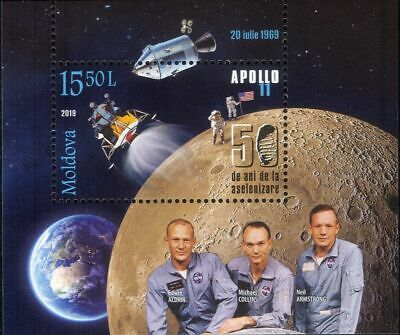 Moldova 2019 Apollo 11/Moon Landing/Astronauts/Walk/Earth/Space 1v m/s (s2835r)