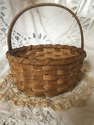 Antique Mini or Child's Splint Split Basket Old Patina Ash or Oak Appalachia