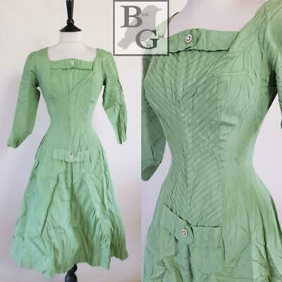 Wartime Original Ww2 1940S Vintage Green Diamante Trim Swing Cocktail Dress 6 Xs