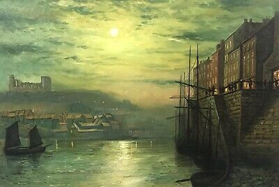 Antique English Oil On Canvas Moonlit Shipping Harbour Monogrammed W.m.
