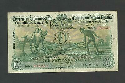 The National Bank   £1    Ploughmans  1935   Currency Commission  P26