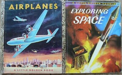"""2 Vintage Little Golden Books ~ EXPLORING SPACE, AIRPLANES ~ """"A"""" 1st editions"""