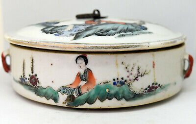 "Antique Chinese Hand Painted Porcelain Lidded Bowl 5.5"" Wide"