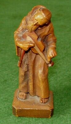 ANTIQUE CARVED WOODEN FIGURE OF MONK PLAYING VIOLIN CHARMING ANRI circa 1900s