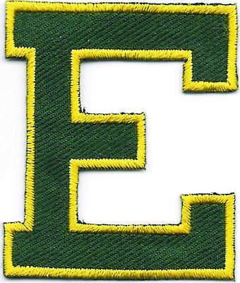 """2/"""" x 2 1//4/"""" Yellow Pink Green Navy Blue Monogram Letter E embroidery patch"""