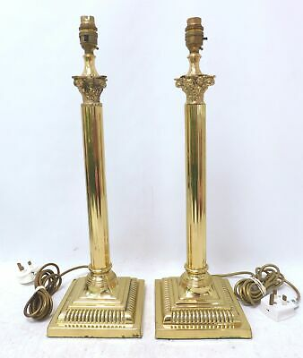 Pair of Retro Brass Table Lamps Greek Doric Column Styling Tall (45cm) - A29