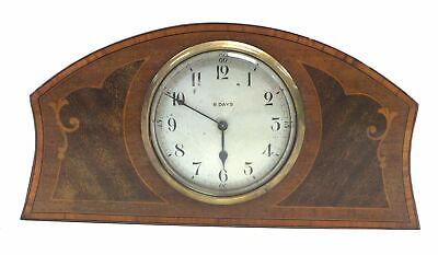Vintage Mantle CLOCK 8 Day Wind Up Wooden Inlay Brass Spares/Repairs - M06