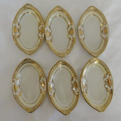 NORITAKE Vintage Lot 6 Hand Painted Nut Dishes Heavy Gold Decoration