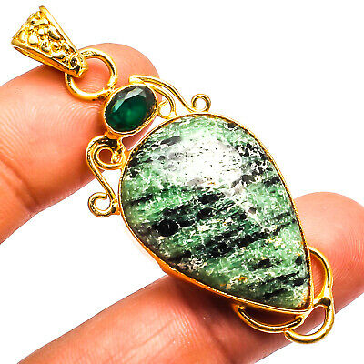 """Ruby Zoisite Chrome Diopside  Pendant 925 Silver Plated Jewelry Sz2.42"""""""