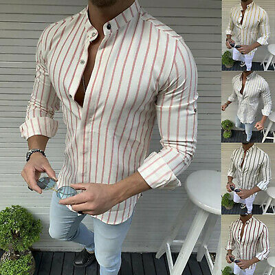 Men's Slim Henley Shirts Long Sleeve Casual T-shirt Striped Muscle Tops M-3XL