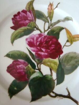 Gorgeous Vintage Hand Painted Porcelain RED ROSES Dinner Plate, Signed