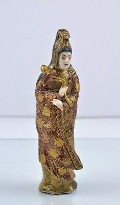 Antique 19th century Japanese Satsuma Pottery Meiji : Figurine of Lady w Flower