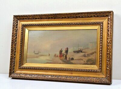 Antique 19С Oil Painting on Canvas : Farewell Fisherman's before leaving in sea