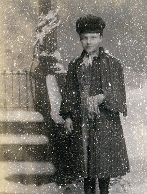 fake snow scene great effect girl in coat painted backdrop