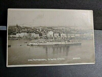 Armored Cruiser USS PITTSBURGH CA-4 Naval Cover unused postcard VENICE, ITALY