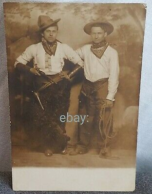 RPPC Cowboy Western Postcard Revolvers Guns Cowboys Real Photo Graphic Antique